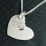 Heart CZ Pendant, personalised engraved, Silver ref. CZHP